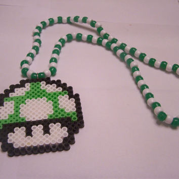 Super Mario Bros one up Mushroom Kandi Necklace//Kandi Necklace//Super Mario Bros//Mario Mushroom//Super Mario