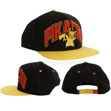 Licensed cool POKEMON PIKACHU Embroidered Adjustable Snapback Trucker Ball Cap Flat Bill Hat