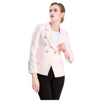 HIGH QUALITY Runway Style Women's Slim Jacket Solid Color Gold Buttons Double Breated Workwear Blazer Tops