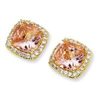 Cheryl M Sterling Silver Gold-plated Rose-cut Pink CZ Square Post Earrings