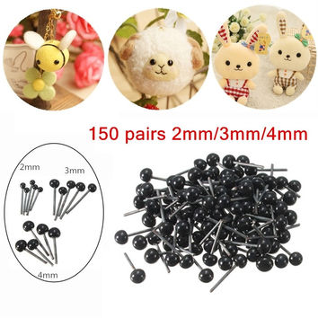 2016 Brand New 150Pairs Lot Glass Flat Eyes Kit 2 3 4mm For Needle Felting Craft Baby Animals Dolls DIY Accessories