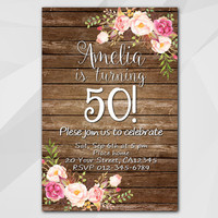 50th Watercolor Birthday Invitation, Any age 13th 18th 21st 30th 40th 50th, Wood Custom Birthday Party invitation XA020w