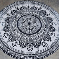 Retro Print Tassel Round Tapestry Beach Towel Beach Yoga Mat Decor Boho 12624 Diameter 150cm
