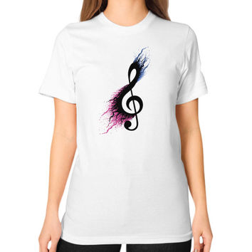 Music sign spill Unisex T-Shirt (on woman)