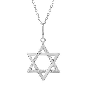 925 Sterling Silver Star of David Jewish Judaica Pendant Necklace 19""