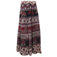 Mogulinterior Boho Wrap skirt Brown Elephant Printed Cotton Long Wrap Around Sarong Skirts