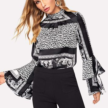 Black and White Flounce Sleeve Blouse