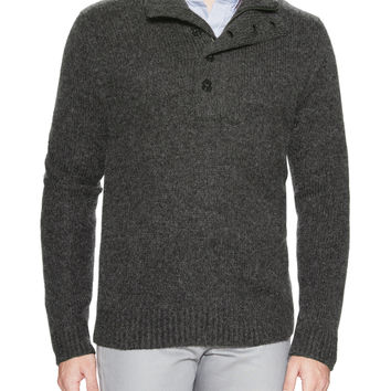 French Connection Men's Half Zip and Button Turtleneck Sweater - Dark Grey