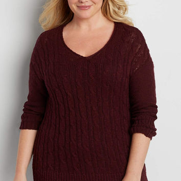 plus size cable knit pullover tunic sweater in mulberry | maurices