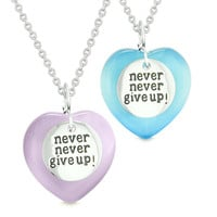 Amulets Never Give Up Love Couples or Best Friends Hearts Purple Sky Blue Simulated Cats Eye Necklaces