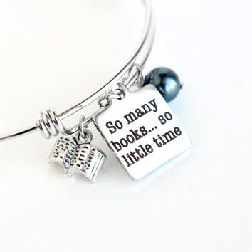 Book lover bracelet, stainless steel charm bracelet, avid reader bangle bracelet, birthstone bracelet, for the book lover, bookworm gift