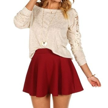 Sale-taupe Crochet Sleeves Top