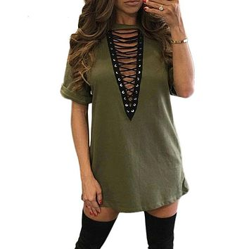 Summer T shirt Dress 2017 Women Choker V-neck Lace Up Sexy Bandage Bodycon Party Dress Casual T-shirt Dress Vestidos Plus Size