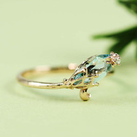 Pink Gold Blue Topaz & White CZ Floral Ring by tooriginal on Etsy