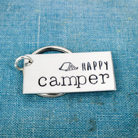 Happy Camper - Tent Camping - Nature - Adventure - Outdoors - Aluminum Key Chain