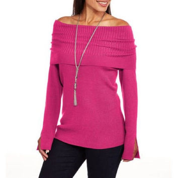 Heart and Crush Women's Off the Shoulder Sweater, Pink, XXL