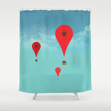 Google balloon Shower Curtain by Tony Vazquez