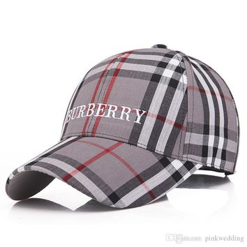 44503a15523 High Quality Plaid Pattern Embroidery Caps Men and Women Hats Lu