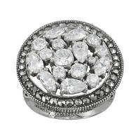 Lavish by TJM Sterling Silver Cubic Zirconia Ring - Made with Swarovski Marcasite (White)