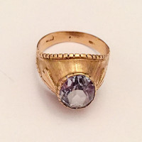 Aquamarine Ring 18K Gold, European Gold, German, Victorian Vintage SALE