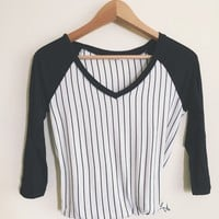 Marianne Striped V-Neck Raglan