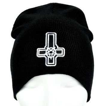 ac spbest Inverted Cross Pentagram Beanie Occult Clothing Knit Cap