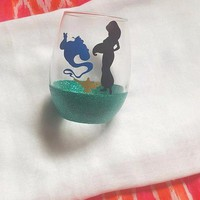 Disney Jasmine Wine Glass, Aladdin Glitter Glass