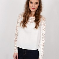 White Leaf Lace Boxy Crop Top | White Cropped Long Sleeve Blouse on Bogatte.com