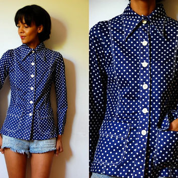 Vtg Polka Dots White Blue Button Down Collar Shirt w Pockets