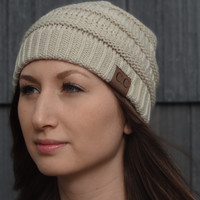 Thick Knit Cozy Beanie - Ivory