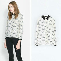 White Fawn Deer Print Long-Sleeve Collared Chiffon Blouse