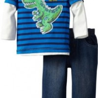 Kids Headquarters Baby Boys' Dino Stripes Twofer Top with Jeans, Blue, 12 Months