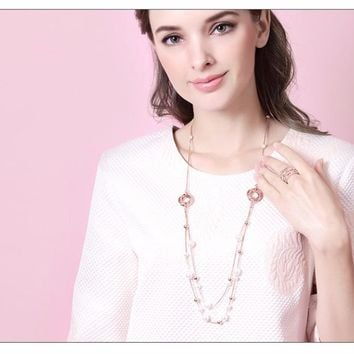 Rose Gold Long Chains Pearl Necklaces