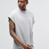 ASOS Super Oversized T-Shirt In Waffle Fabric in Grey