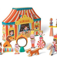 Janod 08520 Story Box Circus 19pc Wooden Set with Coloring Book