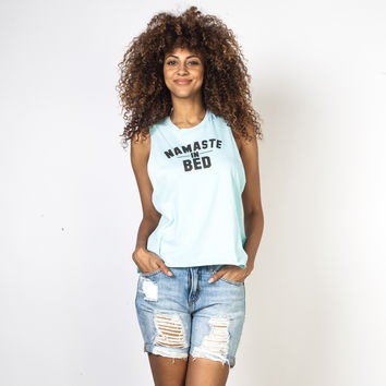 Namaste in Bed Blue Muscle Tank