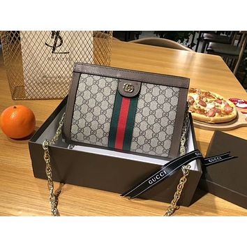 "Hot Sale ""GUCCI"" Trending Women Stylish Leather Metal Chain Handbag Satchel Shoulder Bag Crossbody"