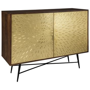 Majaci Accent Cabinet - Brown/Gold