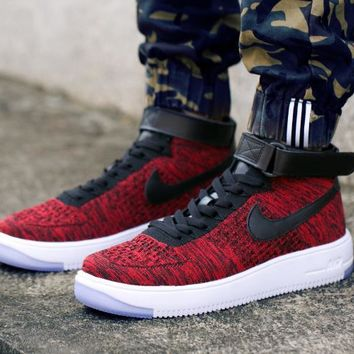 LMFON Nike Air Force 1 Flyknit Mid-High 817420-602 Wine Red For Women Men Sneakers