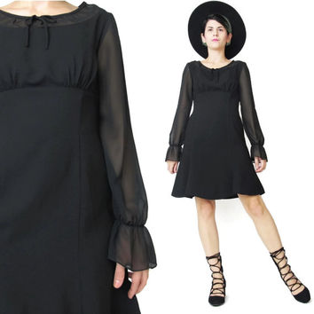 Vintage Black Sheer Sleeve Dress Long Sleeve Dress Mod Empire Waist Mini Dress Little Black Dress Flared Bows Poet Ruffle Cuffs (XS/S)