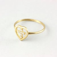 Cross ring, heart ring with diamonds, 14K solid gold, minimal, for her, ring party, birthday gift