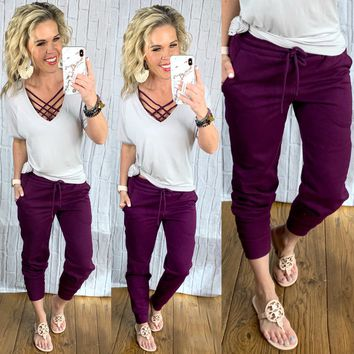 Basic Pocket Joggers: Plum