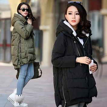 Maternity clothes 2017 winter jackets Women Coat parkas Hoody Long Style Warm loose down wadded jacket Pregnant clothes 5XL