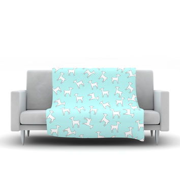 "Monika Strigel ""Baby Llama Multi"" Blue White Fleece Throw Blanket"