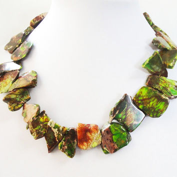 Green Brown Variscite Freeform Slab Necklace,  Top Drilled Chunky Stone Irregular Slice Pendant, Gold Beaded  Statement  Necklace