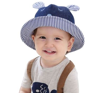 Summer Toddler Bear Cowboy Infant Hats Sun Cap Polka Striped Summer Outdoor Baby Girl Hats Beach Bucket Sun Hat