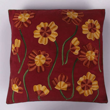 Decorative Pillow/Cushion Cover 16x16 inches/red green/Shams/Slip/Embroidery/Custom made/Floral/Vines/accent/throw/sofa/outdoor/couch/suzani