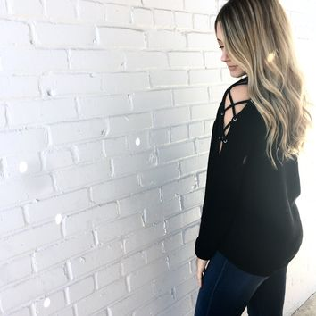 Heart On Your Sleeve Sweater in Black