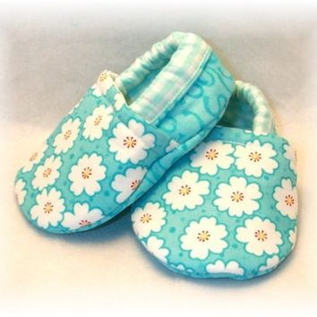 Aqua Cherry Blossom Baby Crib Shoes by Whimbrella on Etsy