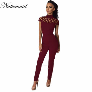 2016 New Women Turtle neck Jumpsuits One piece Hollow out Mesh Bodycon Sexy Long pants bodycon Red outfits Club rompers overalls